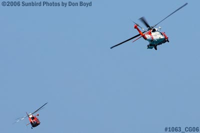 2006 - USCG HH-65A Dolphin #CG-6557 and HH-60J Jayhawk #CG-6039 at 2006 Air & Sea practice show military show stock photo #1063