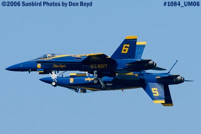 USN Blue Angels F/A-18 Hornets #5 and #6 at the 2006 Air & Sea practice show military air show stock photo #1084