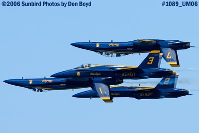USN Blue Angels F/A-18A Hornets at the 2006 Air & Sea practice show military air show stock photo #1089