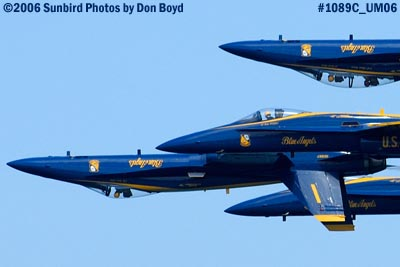USN Blue Angels F/A-18A Hornets at the 2006 Air & Sea practice show military air show stock photo #1089C