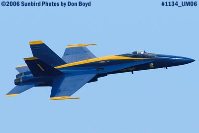 USN Blue Angels F/A-18A Hornet #1 at the 2006 Air & Sea practice show military air show stock photo #1134