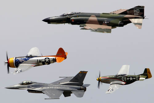 F-4 Phantom, P-47 Thunderbolt, F-16 Fighting Falcon and P-51 Mustang Heritage Flight at Barksdale AFB