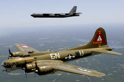 B-17G Flying Fortress Thunderchief and B-52H Stratofortress in Heritage Flight at Barksdale, AFB