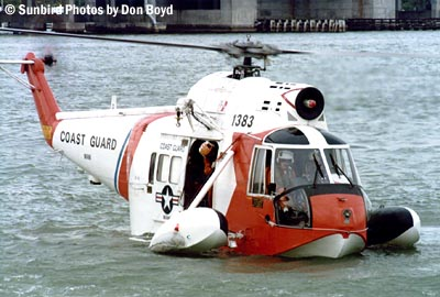 Early 70s - USCG Sikorsky HH-52A Sea Guard #CG-1383 helicopter water landing demonstration stock photo