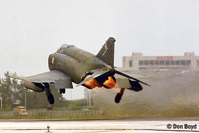 Mid 80s - USAF F-4 Phantom takeoff military aviation stock photo