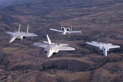 USAF F-15 Eagles, F/A-22 Raptor and A-10 Thunderbolt II