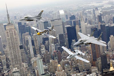 Heritage Flight over New York City featuring F-16 Fighting Falcon,, P-51 Mustang, A-10 Thunderbolt II and F-15 Eagle
