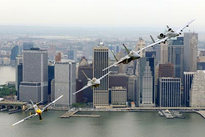 Heritage Flight over New York City featuring P-51 Mustang, F-16 Fighting Falcon, F-15 Eagle and A-10 Thunderbolt II