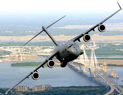USAF C-17 Globemaster III banking over the Arthur J. Ravenel Bridge in Charleston