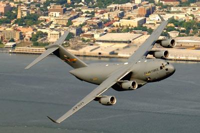 USAF C-17 Globemaster III flying over Charleston