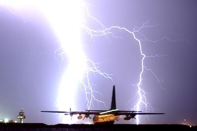 USAF C-130 Hercules and massive lightning at Balad Air Base, Iraq