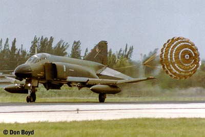 Mid 80s - USAF F-4 Phantom landing military aviation stock photo