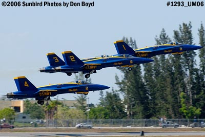 USN Blue Angels F/A-18 Hornets takeoff military air show aviation stock photo #1293
