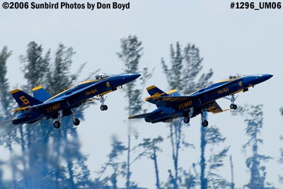 USN Blue Angels F/A-18 Hornets solo pilots takeoff military air show aviation stock photo #1296