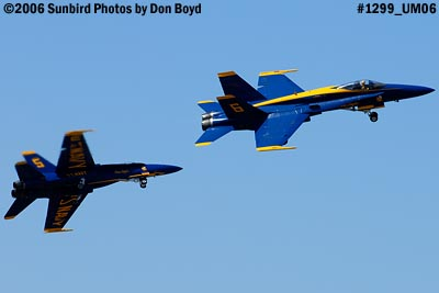 USN Blue Angels F/A-18 Hornets solo pilots takeoff military air show aviation stock photo #1299