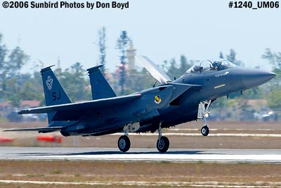 USAF McDonnell Douglas F-15E-44-MC Strike Eagle #AF87-0199 landing at Opa-locka Airport military air show stock photo #1240