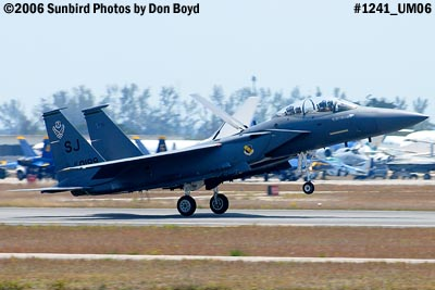 USAF McDonnell Douglas F-15E-44-MC Strike Eagle #AF87-0199 landing at Opa-locka Airport military air show stock photo #1241