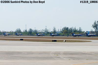 USN Blue Angels F/A-18 Hornets taxiing back on runway 9-left military air show aviation stock photo #1319