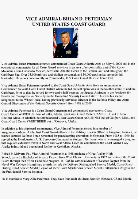 USCGC GENTIAN (WIX 290) Decommissioning Ceremony Booklet - Vice Admiral Petermans Biography