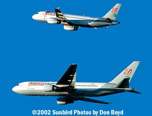 ACES A320 and Avianca B767 in Summa scheme fantasy stock photo
