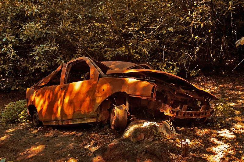676. Burnt out wreck