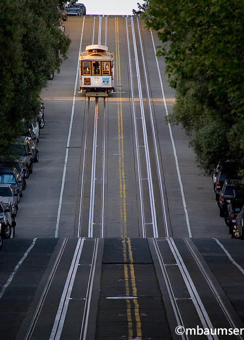 San Francisco Cable Car Coming Down A Hill