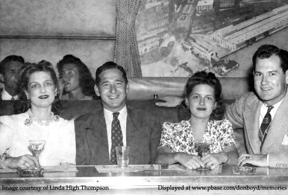 1940s - Myrtle, Jack High, Suzanne Dobbs and Jerry at Kitty Davis Airliner, a night club in the sky, Miami Beach