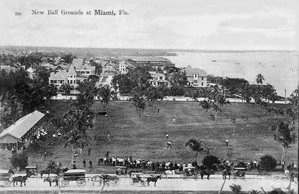 1907 - new ball grounds on Biscayne Bay in downtown Miami before Bayfront Park was built from filling in the bay