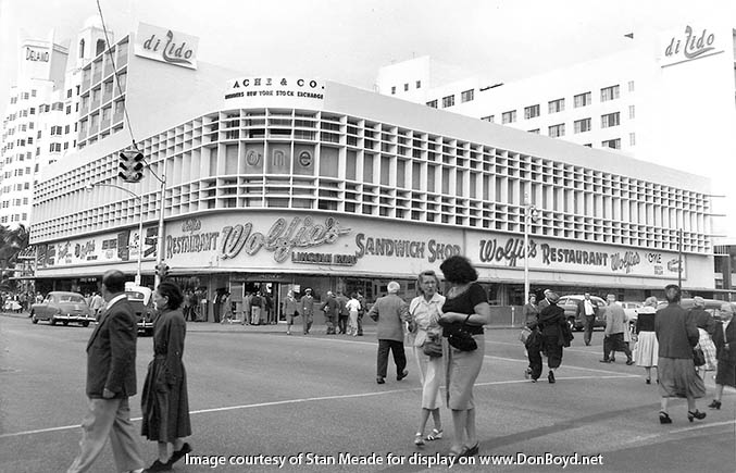 1955 - Delano  Hotel, Wolfies Restaurant and diLido Hotel on Miami Beach