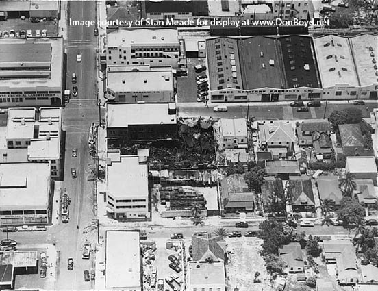 1950s - aerial view of fire damaged warehouse in downtown Miami