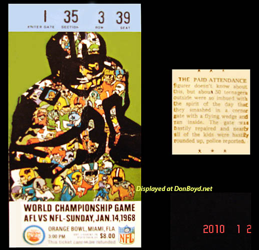 1968 - Super Bowl II in the Orange Bowl - $8.00 tickets and article about 50 kids crashing the gate