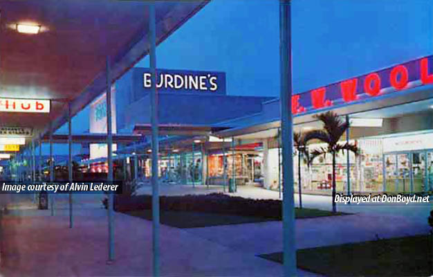 1960s/70s? - a night time view looking west in the 163rd Street Shopping Center