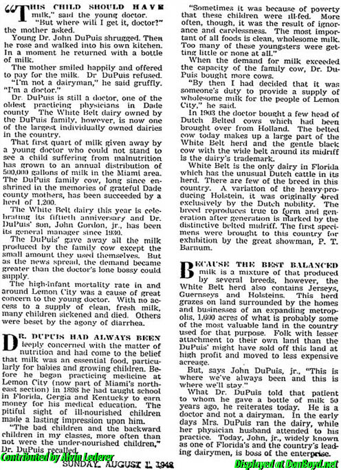 1948 - article about Dr. John G. DuPuis and his White Belt dairy, home of Old Plantation Ice Cream, part 2