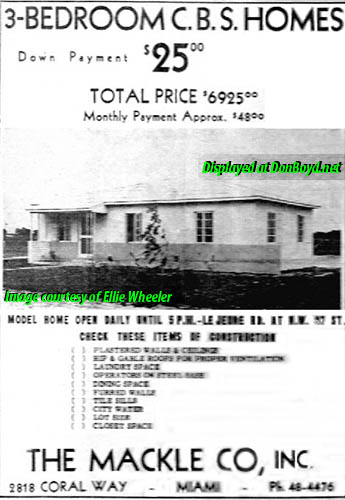 1948 - ad for Mackle built homes on LeJeune Road