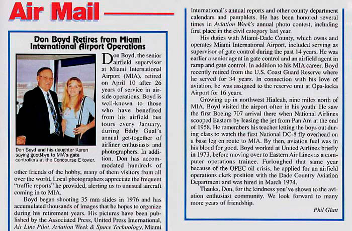 Spring 2000 - Airliners Magazine article on Don Boyds retirement