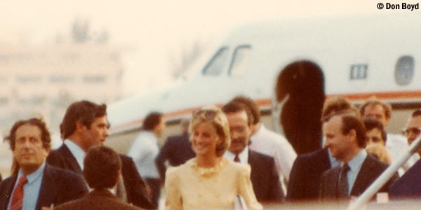Mid 80s - Princess Diana transferring flights on the ramp at Miami International Airport