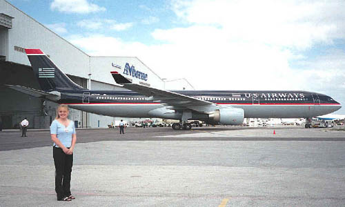 2000 - Karen with brand new US Airways A330 at MIA