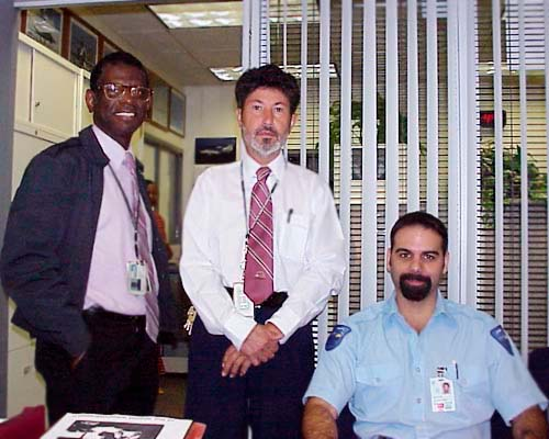 2000 - Bill McMiller, Fernando Bernal and Alex Fajet on my last day at Miami International Airport