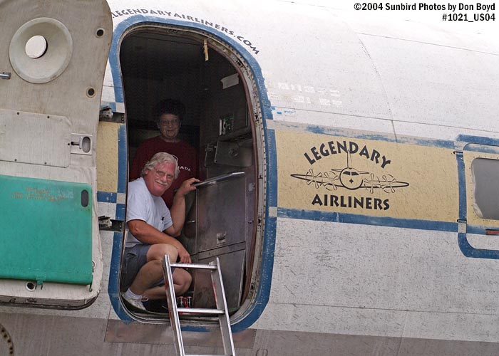 August 2004 - Roger Jarman of Atlantic Models onboard Legendary Airliners DC-7B N836D
