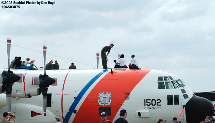 2003 - Coasties watching air show on top of HC-130H CG-1502 at Oceana