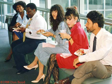 1988 - Vivianne Dawson, Ron Smith, Maria Gonzalez, Susy Gonzalez and Fernando Bernal at Charlie Mauchs retirement party