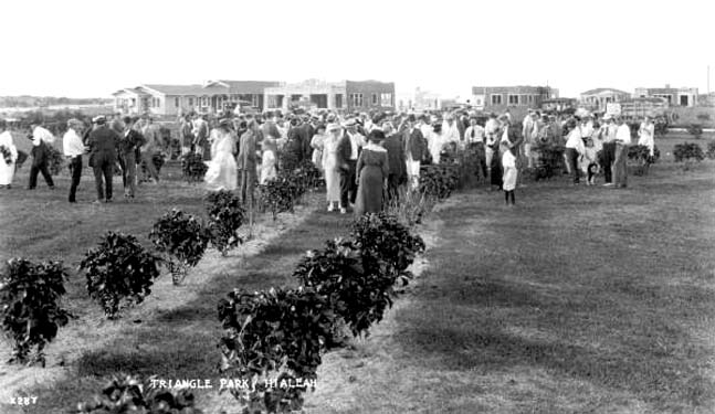1921 - a large group of visitors at Hialeahs Triangle Park on Palm Avenue and County Road (later Okeechobee Road)