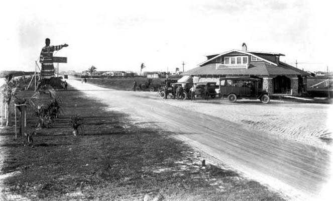 1921 - the Hialeah welcome on County Road (later Okeechobee Road)
