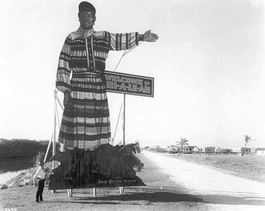 1921 - sign depicting Seminole Jack Tigertail welcomes visitors to Hialeah on County Road (later Okeechobee Road)