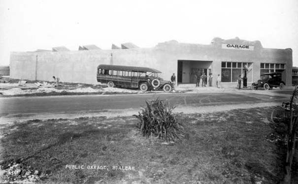 1922 - Curtiss-Bright Ranch Company real estate bus and the J. A. Thiel Garage in Hialeah