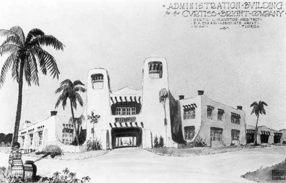 1924 - building plans for the Curtiss-Wright Ranch Company administrative offices in Hialeah