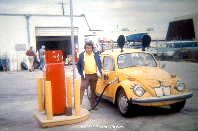 1968 - a Truly Nolen mouse Volkswagen being refueled on the cheap