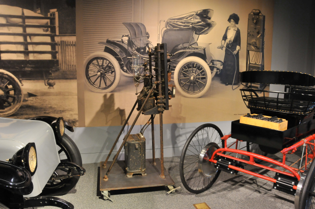 General Electric Car Charger, c. 1909, on loan from Schenectady Museum. By 1900, 28% of U.S-made cars were battery-powered.