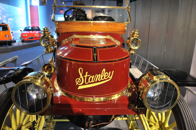 This 1909 Model K, like other Stanleys, has a steam engine.