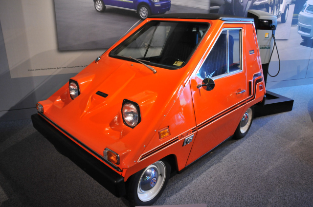 Electric 1976 CitiCar, by Sebring Vanguard, on loan from Leon L. Nonnemaker. About 2,600 units were sold. Range: up to 50 miles.